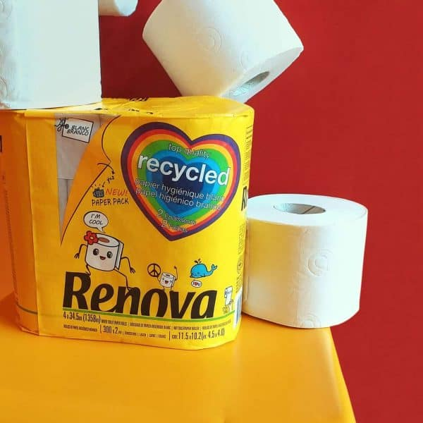 Recycled Toilet Tissue 4 Rolls 2-Ply Paper Pack White