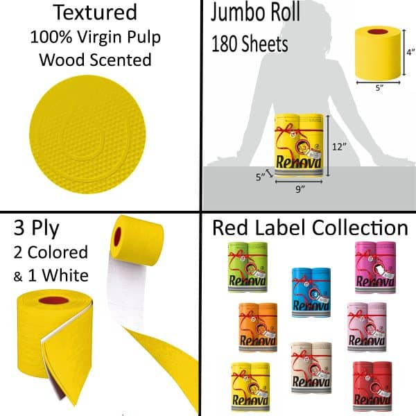 Luxury Scented Colored Toilet Paper 6 Jumbo Rolls 3-Ply-180 Sheets