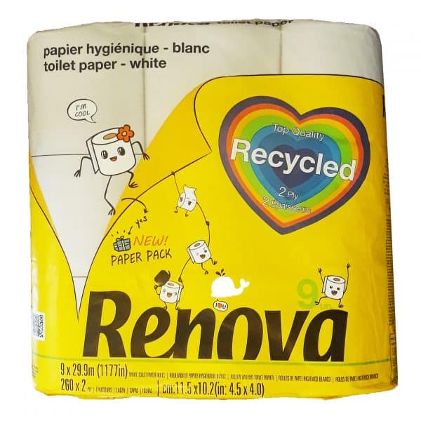 Recycled Toilet Paper 9 Rolls 2-Ply Paper Pack White