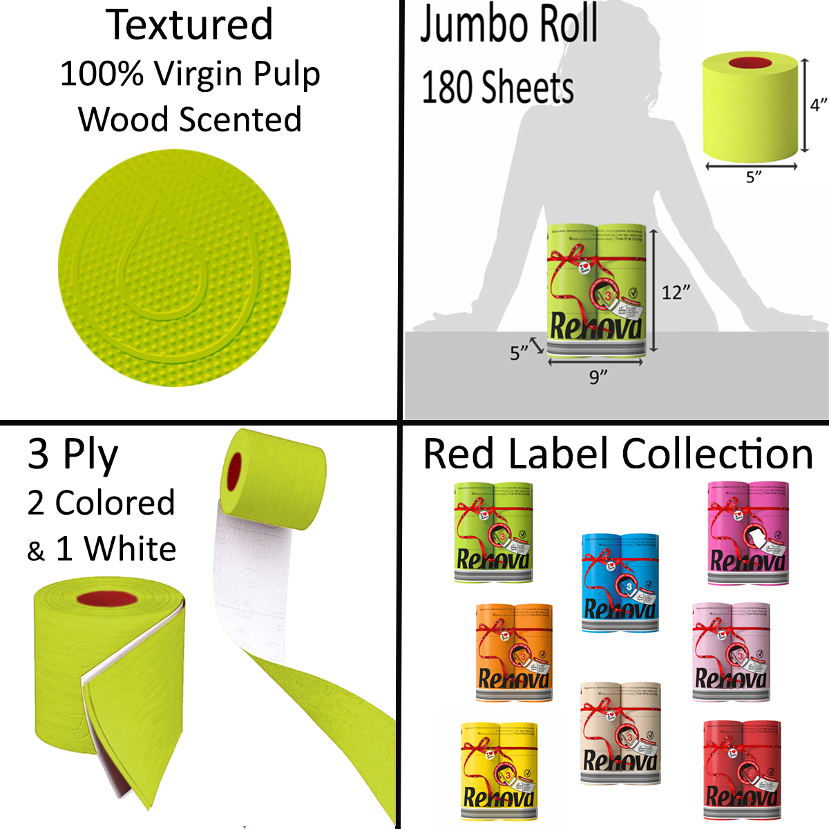 Luxury Scented Colored Toilet Paper 6 Jumbo Rolls 3-Ply-180 Sheets Box 12 packs-72R