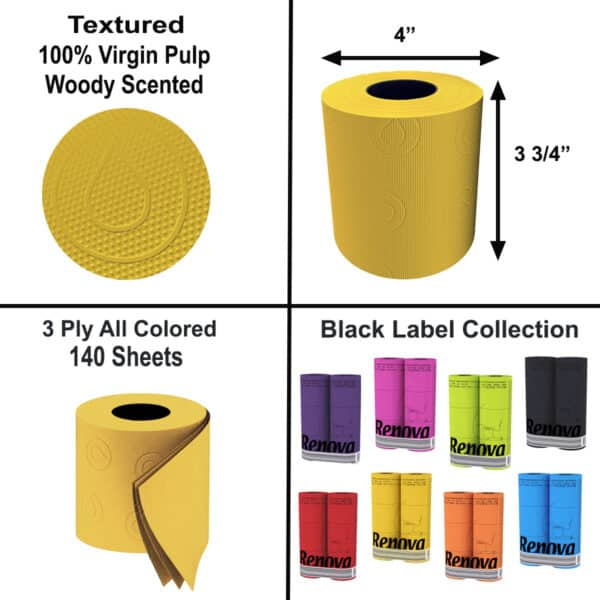 Scented Colored Toilet Paper 3-Ply Bath Tissue 6 Rolls Box 18 packs-108R