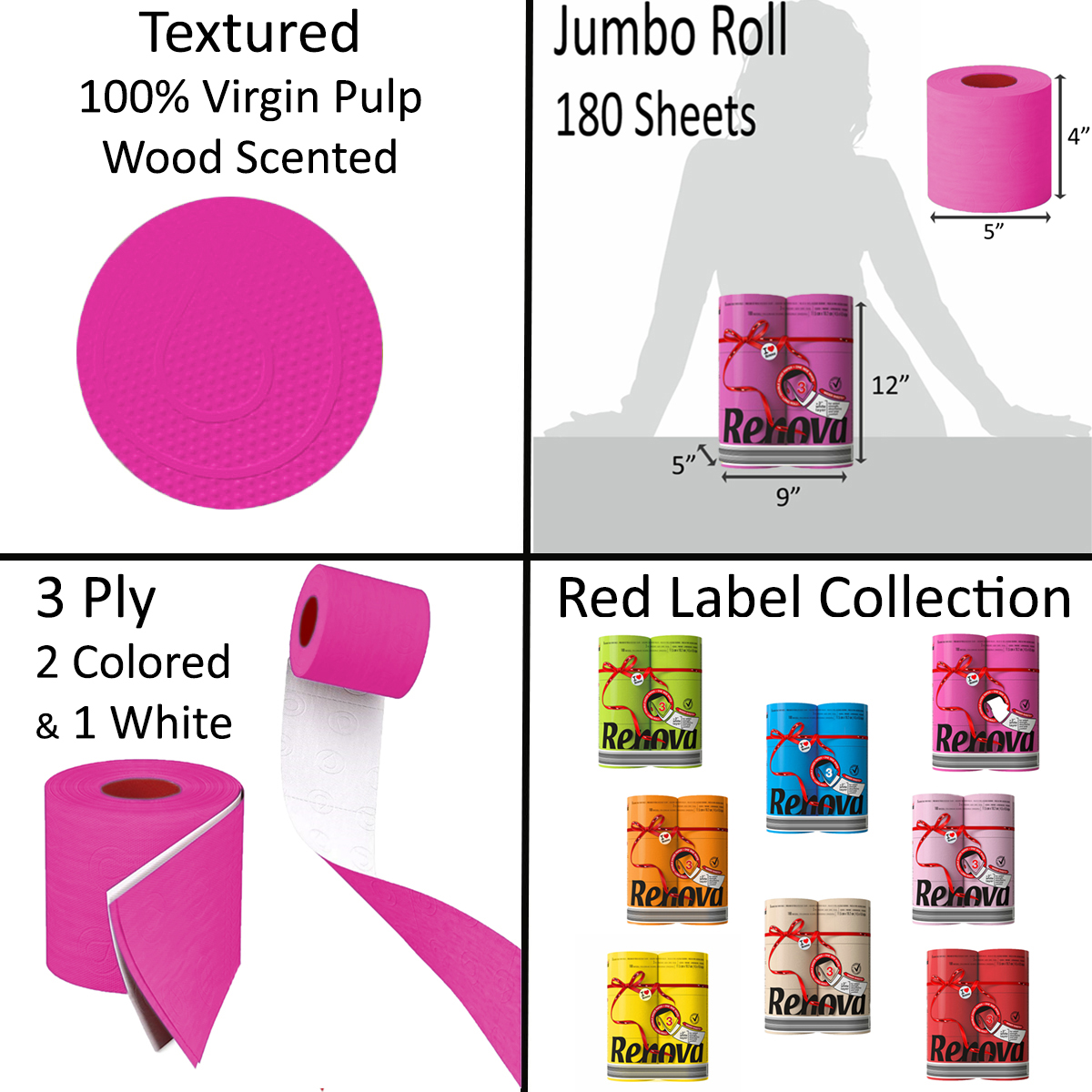 Luxury Scented Colored Toilet Paper 6 Jumbo Rolls 3-Ply-180 Sheets-Pallet 270 packs-1620R